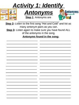 Antonym and Similes and Metaphors activity