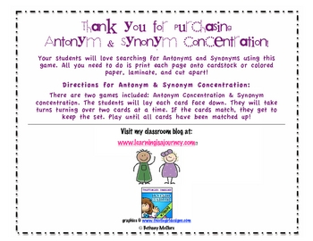 Synonyms and Antonyms Concentration Game - Centers Activity