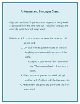 Antonym and Synonym Game