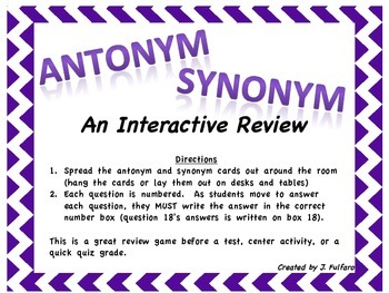 Antonym and Synonym Moveable Review Game