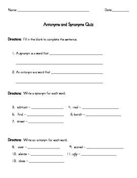 Antonym and Synonym Quiz-2nd Grade Module 3