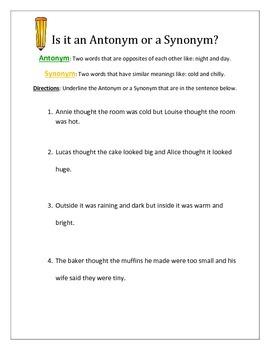 Antonym or a Synonym