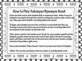 Antonym/Synonym Scoot/Task Cards + Poster