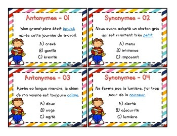 Antonymes et Synonymes - 2e cycle