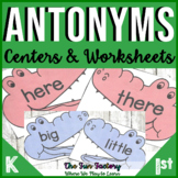 Antonym Worksheets and Center Activities with EDITABLE Pages