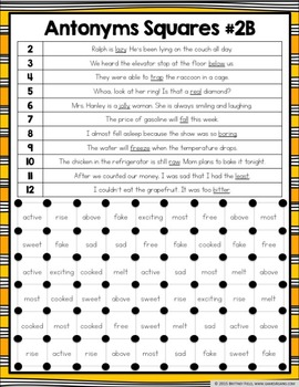 Antonyms Activities: 12 Differentiated Antonyms Games