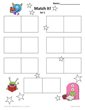 Antonyms: 2nd-3rd Grade Common Core Differentiated Practice Worksheets