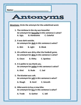 Antonyms: 7 pages of 6 questions each page - Common Core