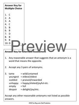 Antonyms Vocabulary Assessment
