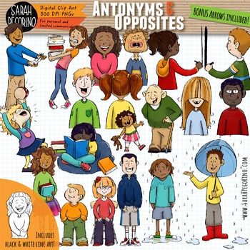 Antonyms - Opposites - Adjectives Clip Art