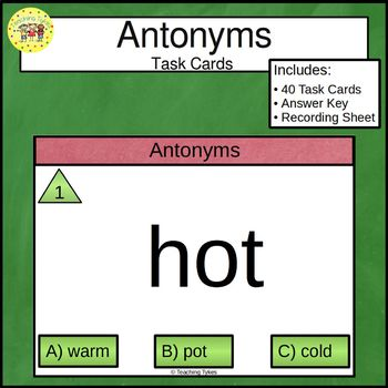Antonyms Clip Task Cards