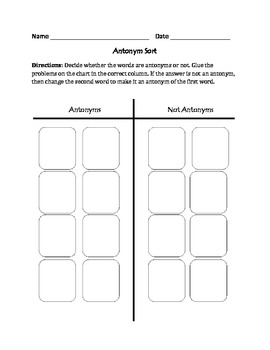 Antonyms : Cut, Sort, and Paste Activity