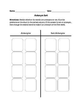 Antonyms : Cut, Sort, and Paste Activity