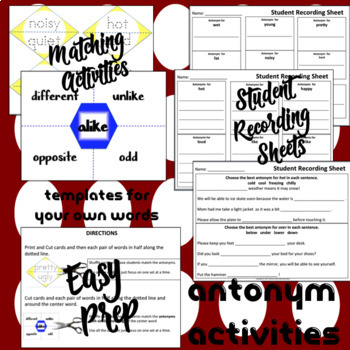 Antonyms - Matching Activities, Student Response Sheets + More EASY PREP!