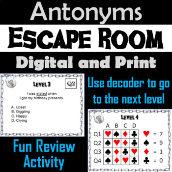 Antonyms Game: ELA Escape Room - English (Vocabulary Game)