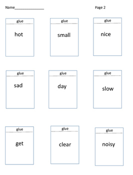 Christmas Antonyms Holiday Theme Cut and Paste