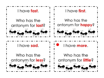 """Antonyms """"I Have, Who Has?"""" Game Cards"""