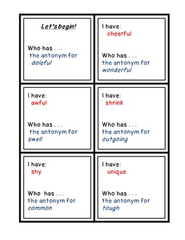 Antonyms - I Have Who Has Game, Worksheet, Guide, Middle School Level SET 1