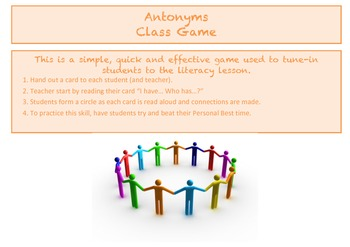Antonyms - I have... Who has - Class Game