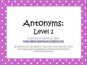 Antonyms Level 1 Activities