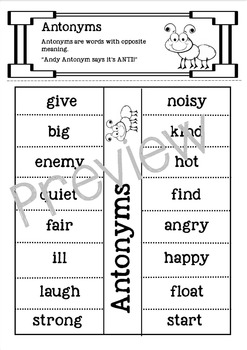 Antonyms Lift the Flap for Interactive Notebook