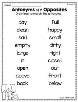 Antonyms Literacy Center - 11 Puzzles PLUS 2 Printable Worksheets