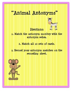 Antonyms Literacy Center - Anytonym Matching Center (2nd-3rd)