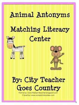 Antonyms Literacy Center - Anytonym Matching Center (2nd-3rd)