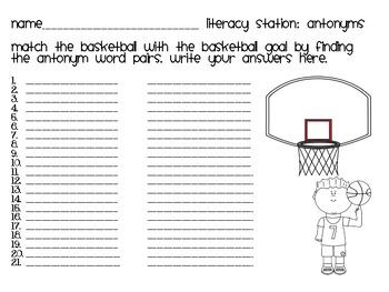 Antonyms Literacy Station