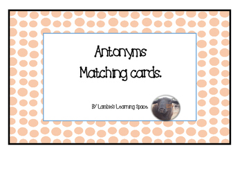 Antonyms Matching Cards Activity