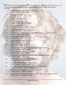 Antonyms Multiple Choice Worksheet