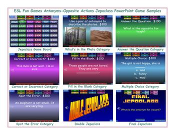 Antonyms-Opposite Actions Jeopardy PowerPoint Game