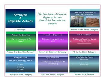 Antonyms-Opposite Actions PowerPoint Presentation