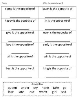 Antonyms, Opposites 2