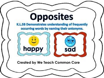 Antonyms-Opposites Literacy Station Daily 5 Word Work