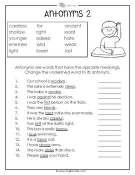 Antonyms/Opposites Worksheets