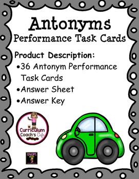 Antonyms Performance Task Cards