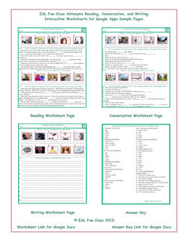 Antonyms Read-Converse-Write Interactive Worksheets for Google Apps