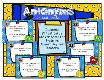 Antonyms Scoot Task Cards