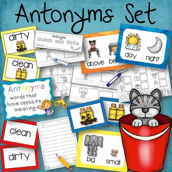 Antonyms Set Book to Create, Posters, Matching Cards