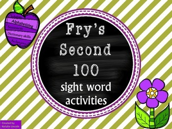 Antonyms, Syllables, ABC order, Guide words, & Sentences for Fry's Second 100