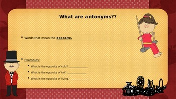 Antonyms & Synonyms Circus PowerPoint