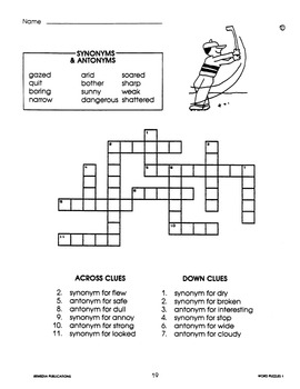 Antonyms & Synonyms: Crossword Puzzles