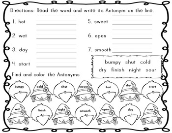 Antonyms & Synonyms ~ Fall Theme