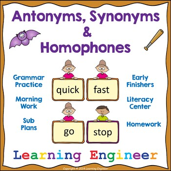 Antonyms and Synonyms Worksheets, Grammar Worksheets, Gram