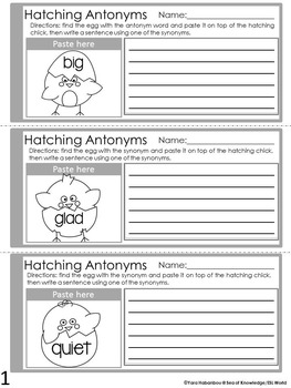 Antonyms & Synonyms Interactive Booklets {Hatching Chicks}