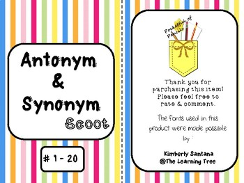 Antonyms & Synonyms Scoot