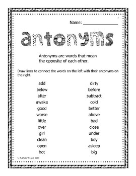 Antonyms, Synonyms and Homonyms Worksheets