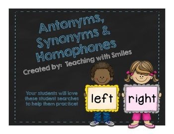 Antonyms, Synonyms and Homophones Student Searches