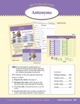 Antonyms (Take It to Your Seat Centers: Common Core Language)